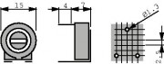 Potm trimmer 50K horizontal - Piher PT15