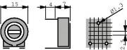 Potm trimmer 500K horizontal - Piher PT15