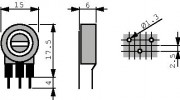 Potm trimmer 500E vertical - Piher PT15