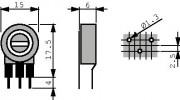 Potm trimmer 100K vertical - Piher PT15