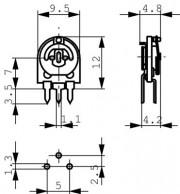 220K Potm. 1turn cermet - horizontal 5.08 mm