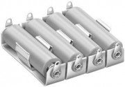 Battery holder aluminium base - plate and RVS holder for 4 X AA cell