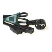 230V Powercords - Schuko conn angled male 2 x IEC C13 female 1.20m black