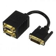 Y-splitter DVI-I(m) - 2x VGA(f - Met deze Y-splitter is het mogelijk om twee (of een combinatie van) monitoren, LCD of Plasma