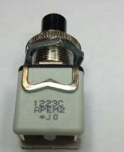 Apem button 1223C2Off-On black - 2A 250V 12mmØ