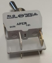 Toggle switch 15A 250VAC - 2p on-on metal handle APEM