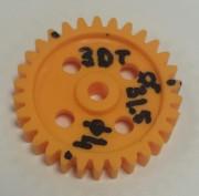 Gearwheel 3mm pitch 30T - Gearwheel Plastic. outside Ø 31,5mm. 30 tooth 2,2mm, 3mm pitch, face width 6mm. shaft 4mm Ø.