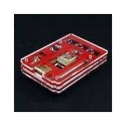 Acrylic Rainbow Case / Box / S - Acrylic Rainbow Case / Box / Shell for Raspberry PI 2 Model B - Transparent + Red Price for