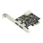 2x USB 3.0 PCI express - De nieuwe USB 3,0 standaard is 10x sneller dan USB 2,0, Met deze PCI express kaart benut je deze