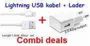 Combi set USB charger 220V 2A + USB Lichtning 8p cable 1.0m white