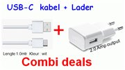Combi set USB charger 220V 2A + USB A to USB C cable 1.0m white